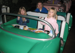 Emma, left, had her first chocolate shake at this MGM Studios Restaurant