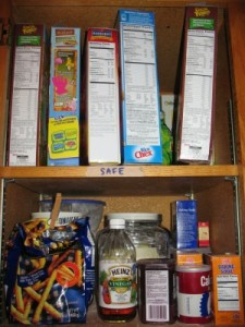 A Safe Cupboard Is Used for all Gluten-Free Products