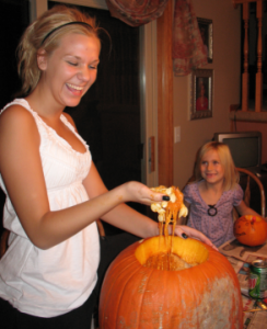 Carving pumpkins is a messy business
