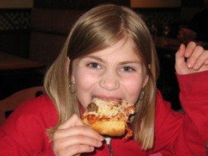 Wow!  Emma can eat pizza!